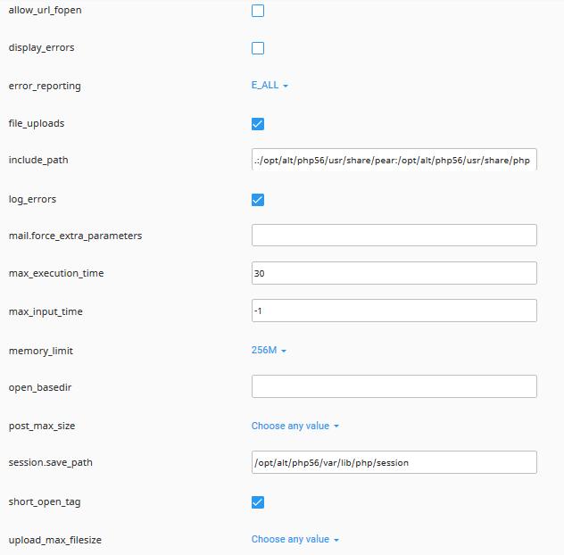 تنظیمات php در cPanel